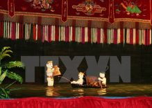 Water puppeteers perform in France
